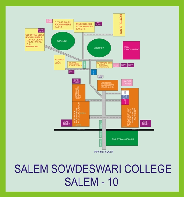 Salem College Campus Map.Salem Sowdeswari College Campus Route Map